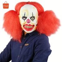 Topeng badut dengan wig seram it clown pennywise halloween cos
