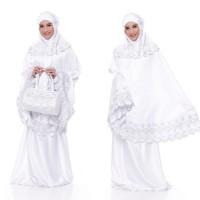 Mukena Bordir Satin Silk Aleena - Putih