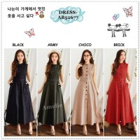 Long Dress Maxi Wanita Bangkok Korea Import AB52677 Hitam Black Army