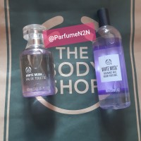 paket parfume body shop white musk body mist + edt 100ml
