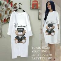 tunik swing bear moschino putih fashion wanita dres md dres