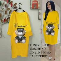 tunik swing bear moschino mustard fashion wanita dres md dres