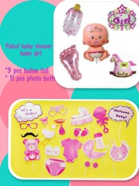 perlengkapan pesta paket photoboth n balon foil baby shower girl