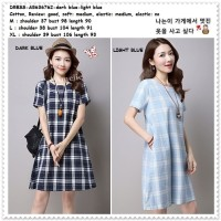 Mini Dress Katun Kotak Biru Putih Wanita Korea Import AB636762 Blue