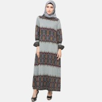 Anakara Gamis Muslim Batik- Frilly Gamis Grenian Songket- Abu abu