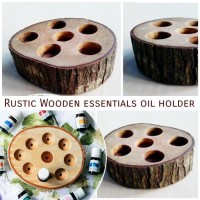 Rustic wooden essential oil holder storage organizer hiasan