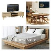 SIAP DI KIRIM Meja tv minimalis kayu jati + meja makan kursi + tempat