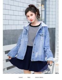 Jaket Jeans Wanita Gray Hoodie Denim (L) Import