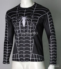 FT 1023 BASELAYER GYM / CYCLING UNDER ARMOUR SPIDERMAN HITAM - LENGAN