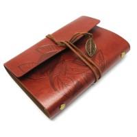 Buku Catatan Binder Kulit Retro Leaf Kertas A6 - Brown