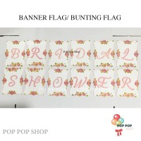 Banner / Bunting Flag Bridal Shower PINK bunga Acara Wedding