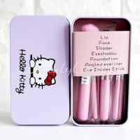 Brush Set Hello Kitty Kemasan Cantik / Kualitas Oke / Halus / isi 7pcs