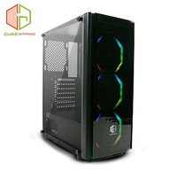 CUBE GAMING HUNTINGTON - ATX - FRONT & SIDE TEMPERED GLASS - PSU COVER - FREE 3PCS 12CM BUTTERFLY RGB FAN