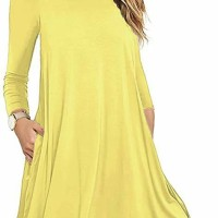 Uniboutique 22 Women 's Long Sleeve Casual Loose Swing T-Shirt Dress