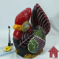 Hot Produk Celengan Ayam Jago Tradisional Dot Painting - S Kirim