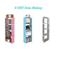 Rak buku 5 tingkat 4 susun lemari serbaguna portable multi fungsi