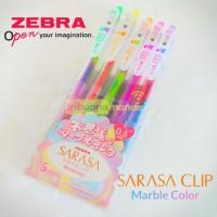 Pulpen Gel Sarasa Clip Zebra MARBLE 0.5 mm set isi 5
