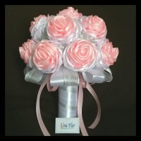 Wedding satin flower bouquet handmade / buket bunga satin pernikahan