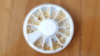 Matte Gold Color Mix Metal Decorations in Wheel for Nail Art or Craft