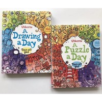 Usborne a drawing a day - a puzzle a day - activity book - buku