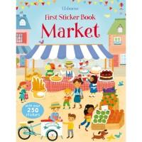 usborne first sticker book market -activity book- buku import anak