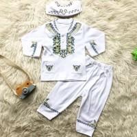 Koko Bordir Putih / Baju Muslim Bayi Laki-laki / Baju Koko Bayi Murah