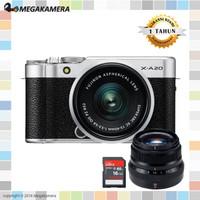Fujifilm X-A20 Kit 15-45mm + 35mm F2 Lensa Fujinon XA20 Garansi Resmi