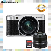 Fujifilm X-A20 Kit 15-45mm + 1 Lensa Fujinon XA20 Garansi Resmi