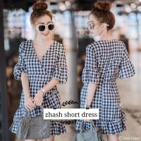 ZHASH SHORT DRESS / Dress Murah / Dress Kotak Kotak / Dress Casual