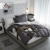 Bedcover Set Sprei Katun Catra Motif Line Black White Uk 160/20