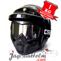 Cargloss Helm RETRO ARMY|OSBE SILVER GOGGLE Mask | Vespa Carglos