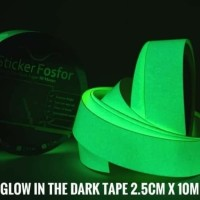 Fosfor Glow In The Dark Ukuran 24mm 10Mtr Stiker isolasi Nyalah