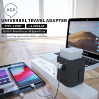 KIIP UNIVERSAL TRAVEL ADAPTER FAST CHARGING 4.5A 2USB TYPE C