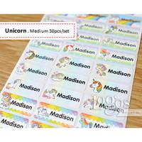 Unicorn MEDIUM Sticker Label Nama waterproof stiker namaanak kuda pony