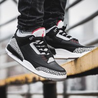 Sepatu Basket Nike Air Jordan 3 III Black Cement