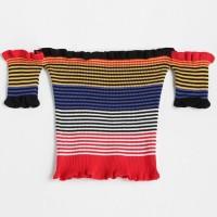 arbelacloth - rainbow knitt off shoulder crop top / sabrina