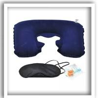Inflatable Travel Pillow Set - Air Pillow Bantal Leher Penutup Mata Te