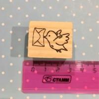 Wooden Stamp Snailmail Bird stempel karet happy mail daily journaling