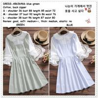 Mini Dress Kemeja Kotak Wanita Korea Import AB636466 Blue Green Biru