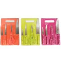 Pisau Set Talenan Warna Warni Pisau Dapur + Talenan + Gunting Murah (1