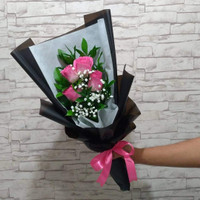Buket Bunga Mawar Sweet Pink - Simple Love