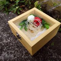 Kotak Cincin Transparan Natural Kayu Pinus Tutup Acrylic (Bunga)