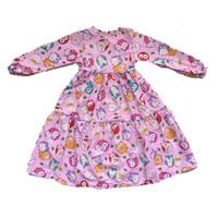 Gamis Anak Owl Pink dan Biru Usia 3-10 tahun