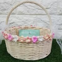 Flower Girl Basket Keranjang Rotan Keranjang Bunga Pernikahan Wedding
