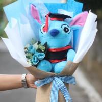 Bouquet Buket Bunga Boneka Stitch Toga Kado Wisuda Pendadaran Skripsi
