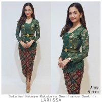 Setelan Kebaya Kutubaru Semifrance Santili Larissa Army Green