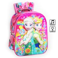 Tas Ransel Anak Sekolah TK Lampu Music Frozen 7D Timbul 2 Kantong Pink