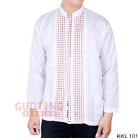Baju Koko Lengan Panjang Motif Bordir Putih (KKL)