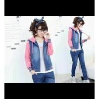 Jaket Wanita / Jacket -- jaket chery jeans washed combi jaket wanita