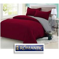 Two Tone ROMANTIC Bedcover Sprei Set 180 200x20 Merah Abu Katun Jepang